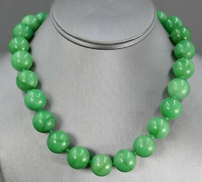 Fine Old Chinese Carved Apple Green Jade Jadeite 16mm Bead Silk Knotted Necklace