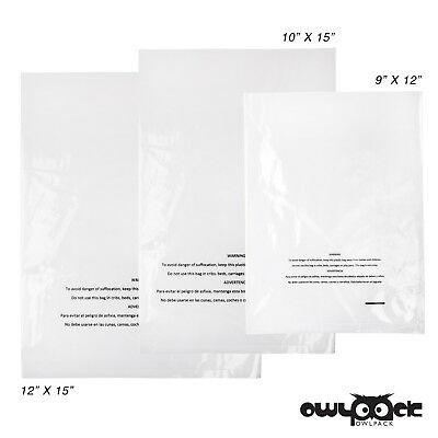 Multi Pack 9x12 10x15 12x15 1 mil Owlpack Poly Open End Warning Bags-100 each