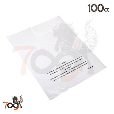100 1 Mil 12x15 Owlpack Clear Poly Plastic Open End Suffocation Warning FBA Bag