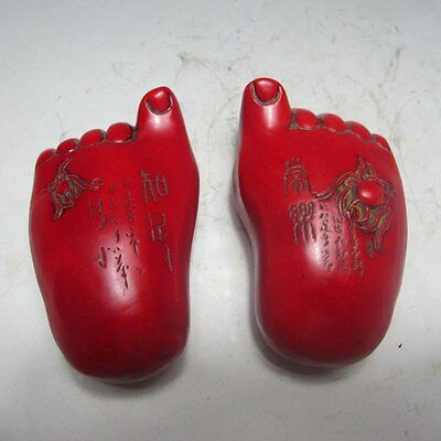 100% Natural Couple Red Turquoise Hand-carved Statue---Foot ......