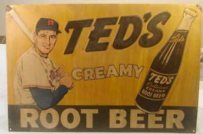 """VINTAGE TED WILLIAMS ADVERTISING TIN SIGN FOR 'TED'S CREAMY ROOT BEER' 15"""" x 10"""""""