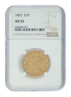 1852 $10 Gold Liberty Head Half Eagle Graded by NGC as AU55! Gorgeous US Gold!