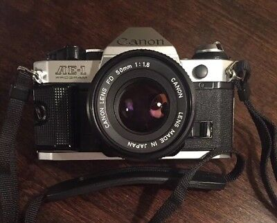 New Seals-Film Ready-Canon AE-1 Program 35mm Camera with 50mm lens Kit+battery