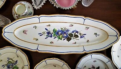 "Fish Set -10 pc, French porcelain, Vieux Paris, c1850, 28"" platter, 10"" plates"