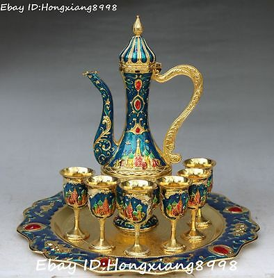 Old Chinese Cloisonne Enamel Gilt Flower Buddhist pagoda Wine Tea Pot Flagon Set