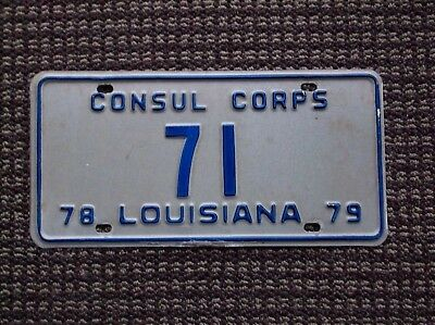 Louisiana  1978 1979   Consular Corps License Plate  # 71  Low Number
