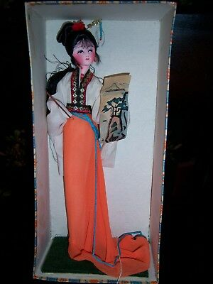VTG Chinese Doll in Box- People's Republic of China-Hand Made-Good Condition
