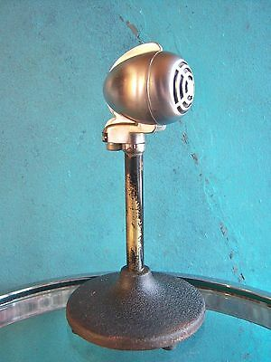 Vintage 1940's Turner CX crystal bullet microphone old used antique w stand