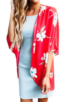 Womens Coats Floral Red Open Front Long Sleeve Summer Causal Loose Prom Tops US