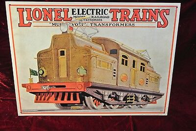 Lionel Electric Trains Metal -TIN sign 1992 shows 1927 train car
