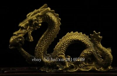 China old antique hand made brass dragon statue collect b01