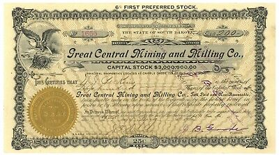 Great Central Mining and Milling Co. Stock Certificate. South Dakota