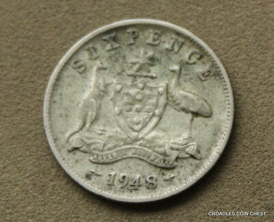 1948 Silver Sixpence  Predecimal Coin Nice Circulated  #tvq40