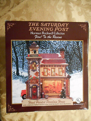 """The Sat. Evening Post Norman Rockwell House """"Fire to the Rescue"""" NIB"""