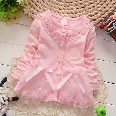 Autumn Girl Lace Coat Jackets Kids Girls Outerwear Baby T shirt Tops Clothing