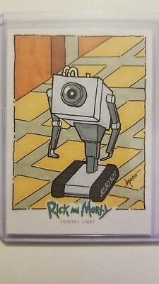 RICK and MORTY SKETCH CARD Cryptozoic Butter Robot Norvien Basio 2018 1/1
