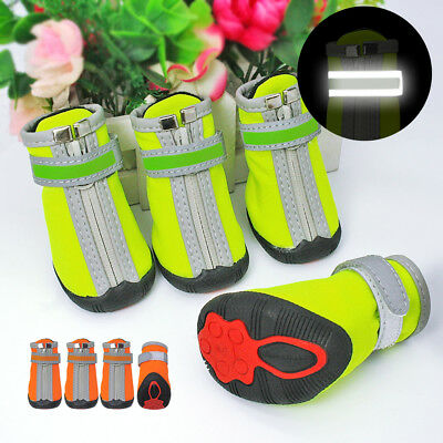 4pcs Dog Shoes Small Large Paw Boots Booties for Snow Rain Reflective Anti-slip