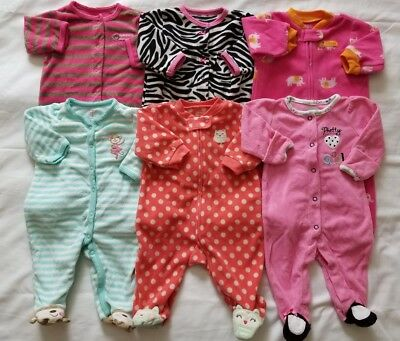 Baby Girls 0/3 3 Months Sleepers Footed Pajamas Clothes Lot