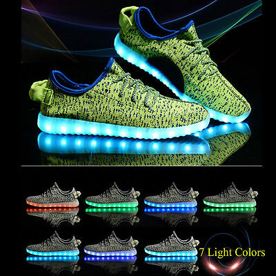LED Light-Up Sneakers Men Women Lovers Lace Up Unisex Casual Shoes Sports