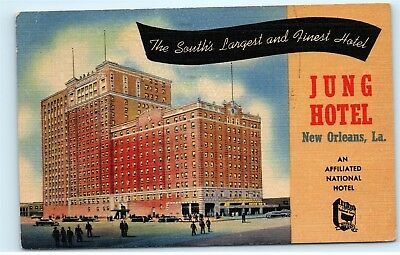 1953 Jung Hotel Canal Street New Orleans Louisiana LA Linen Vintage Postcard B22