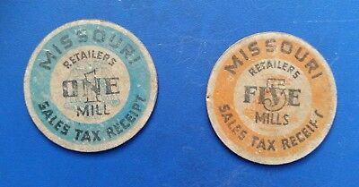 2 Missouri 1930's Sales Tax Receipts 1 & 5 Mills Cardboard