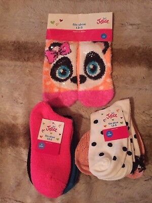 Justice Girls Socks 3 Packs Panda Side By Side, Crew And Soft Ankle Sz13-5