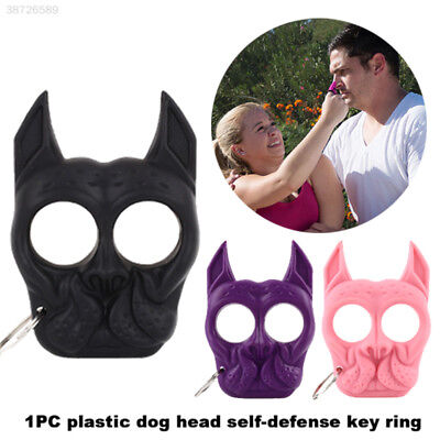 Travel Safety Self-Defense Ring Key Chain Dog Head Trip Portable Security FD40