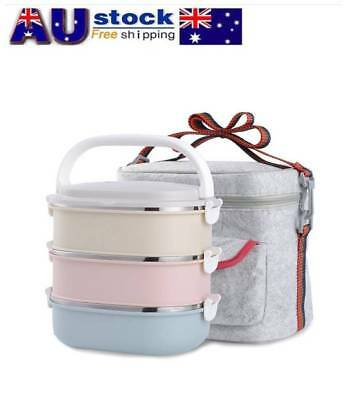 1/2/3/4 Stainless Steel Metal Bento Lunch Box Insulated Thermal Food Containers