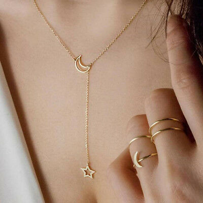 Women Simple Necklace Jewelry Long Pendant Gold Silver Moon Star Choker Chain