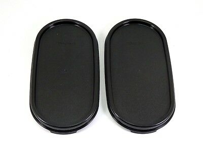 2 NEW Tupperware Modular Mates Oval Replacement Seal Lid Cover Black  #1616