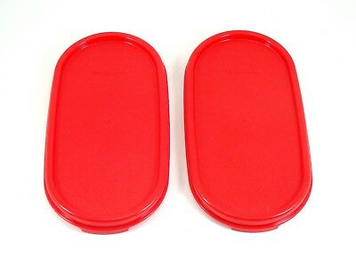 2 NEW Tupperware Modular Mates Oval Replacement Seal Lid Cover Chili Red  #1616