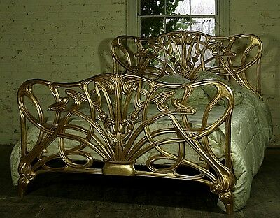 Mahogany 6 Super' King Size Cheri Art Nouveau Gilt Gold Bed New Louis