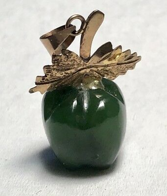 Chinese 14kt Gold , Carved Jade Apple Pendant 14k