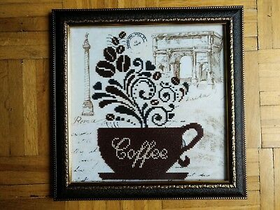 Handmade Completed Embroidery Beadwork COFFEE Picture Framed