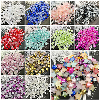 NEW DIY 100pcs 10MM Multicolor Smooth Resin Star Flat Back Scrapbooking Craft