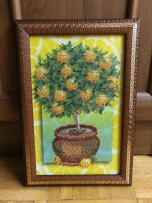 Handmade Completed Embroidery Beadwork LEMON TREE Picture Framed