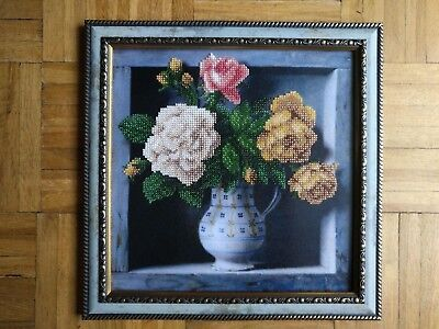 Handmade Completed Embroidery Beadwork FLOWERS Picture Framed