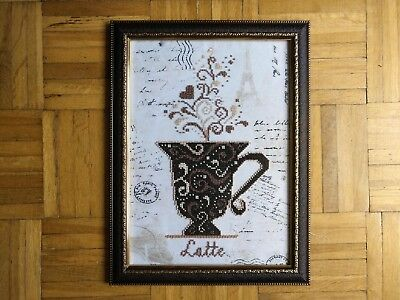 Handmade Completed Embroidery Beadwork LATTE Picture Framed