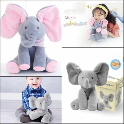 Peek-a-boo Elephant with Music Baby Pal Animated Flappy The Elephant Plush Toy Q