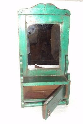 Old Indian Wooden Tribal Hand Crafted Dressing Mirror Frame With Drawer #17