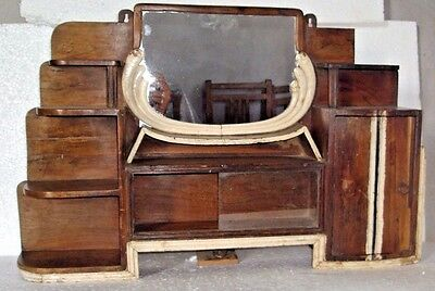 Old Indian Wooden Hand Crafted Dressing Mirror Frame With Glass Slide Drawer