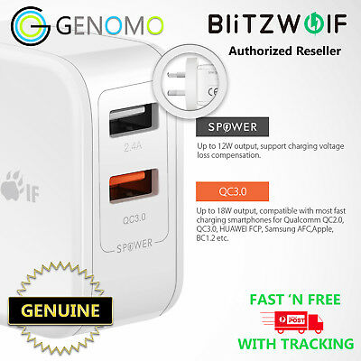 BlitzWolf QC3.0+2.4A 30W Dual USB AU Wall Charger for Apple, Samsung
