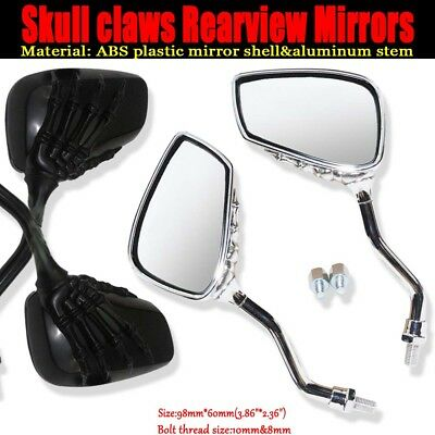 2pc Universal Motorcycle Chrome SKELETON Skull HAND Claw Side Rear View Mirrors