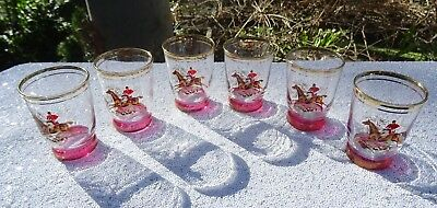 1950's Fox Horse Hunting Ruby Flashed Set of Six Port Sipping Glasses
