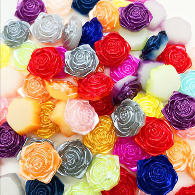 NEW DIY 20pcs 12MM Multicolor Smooth Resin Rose Flat Back Scrapbooking Craft
