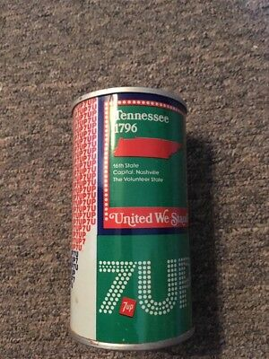 Vintage United We Stand 7up Steel Can Tennessee #42
