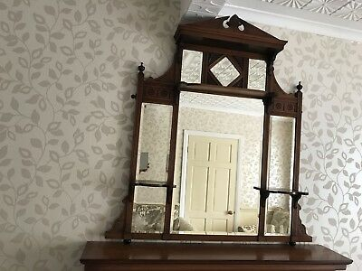 Antique Wooden Over-Mantle Mirror / Bevelled Edges, with Small Display Shelves
