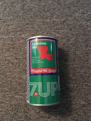 Vintage United We Stand 7up Steel Can Louisiana #18