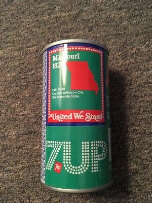 Vntage United We Stand 7up Steel Can Missouri #25