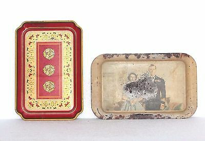 Old Vintage Rare Printed Serving Tin Tray Set of 2 Home Decor Collectible M-71